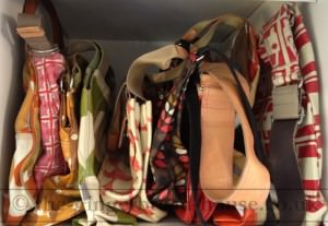 shelf of handbags