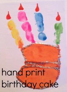 hand print birthday cake