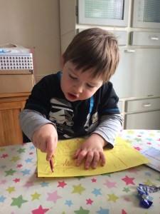 writing his Christmas list