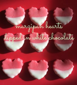 marzipan hearts dipped in white chocolate