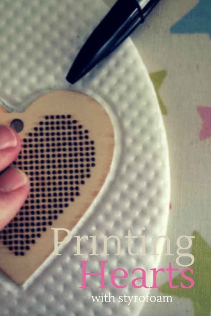 Printing hearts with Styrofoam