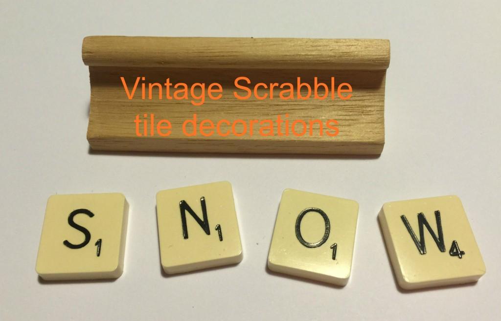 Vintage Scrabble tile decorations