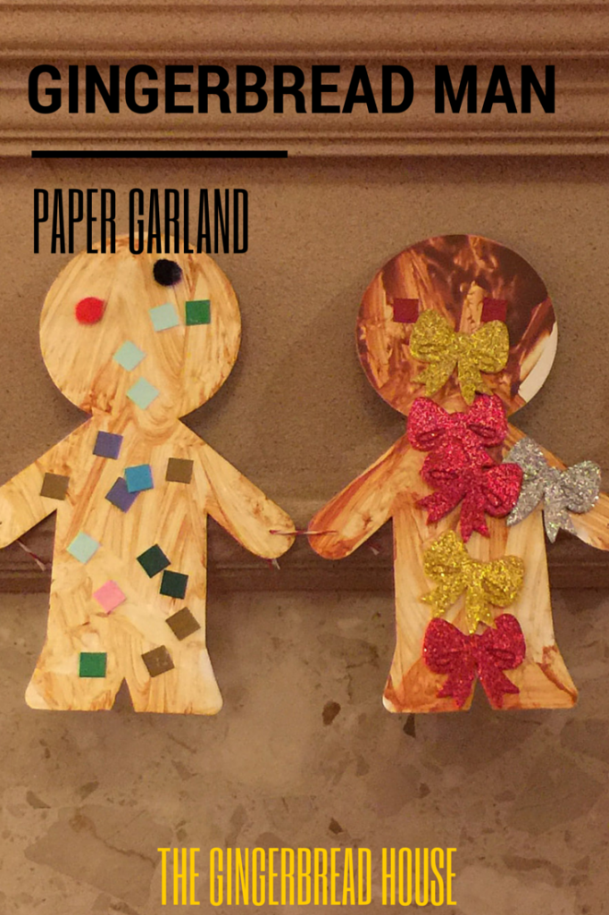 gingerbread man paper garland - the gingerbread house