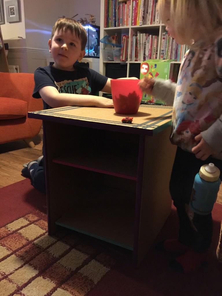 cardboard book shelf