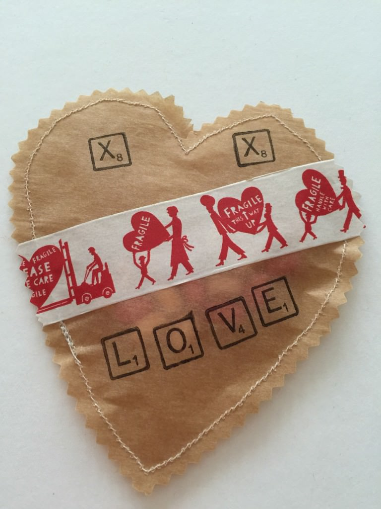 brown paper stitched hearts - the gingerbread house