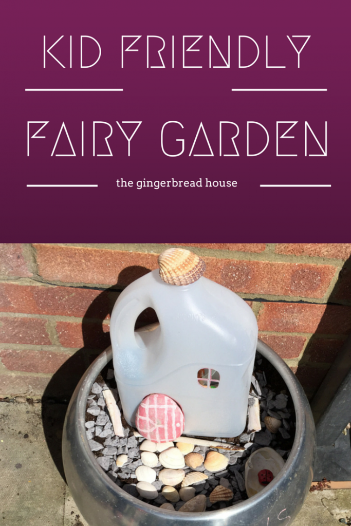 kid friendly fairy garden made with a milk bottle from the gingerbread house