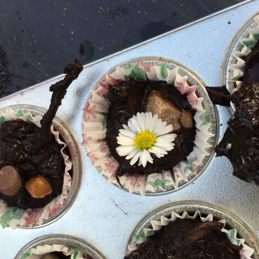 Messy Kitchen After Baking: Making Mud Cakes In Our Mud Kitchen