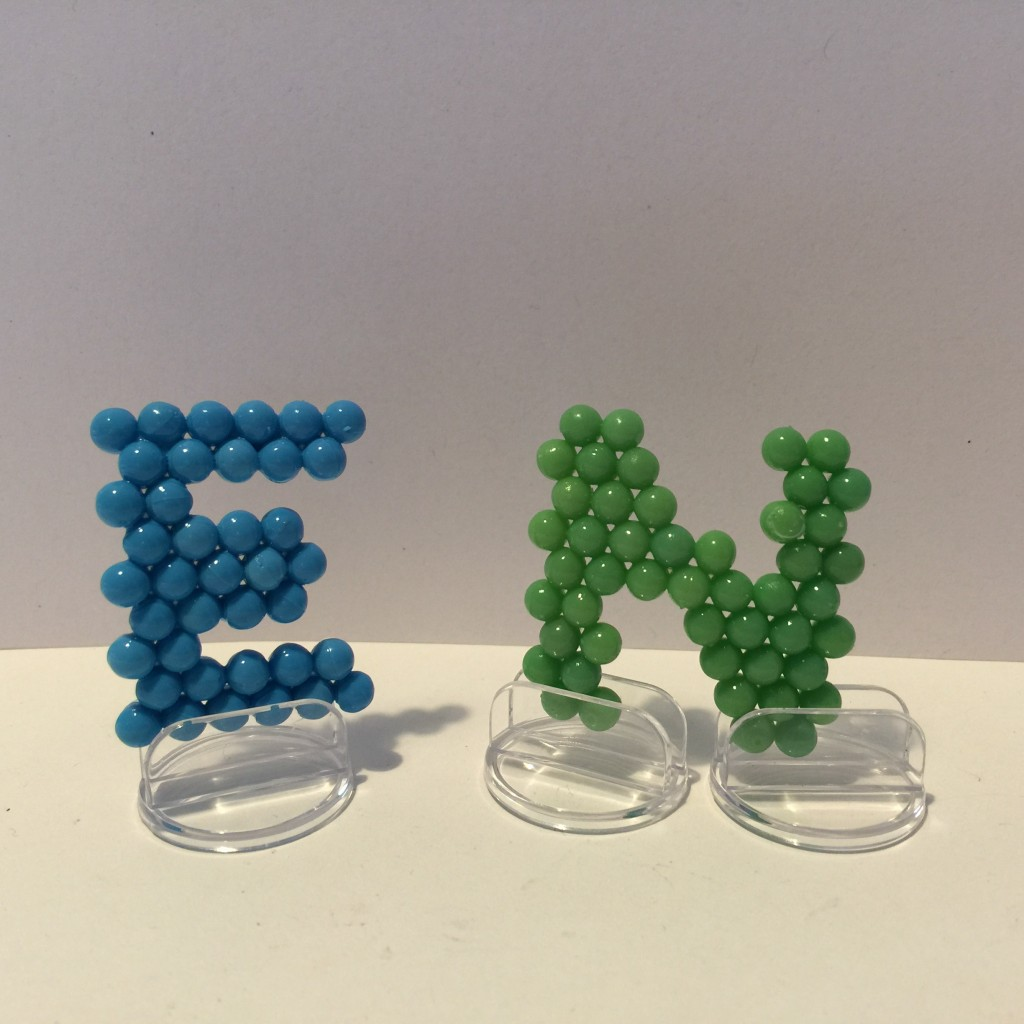 aquabead letters with stands