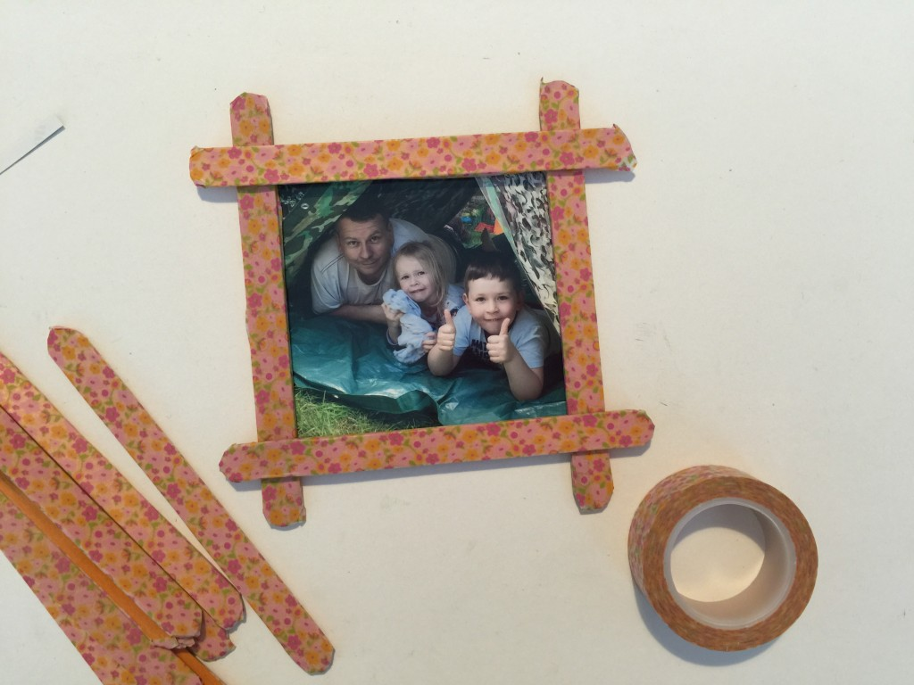 Craft stick photo frames for Father's Day