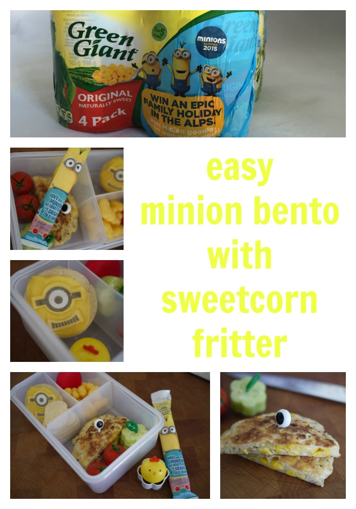 minion bento with sweetcorn fritter