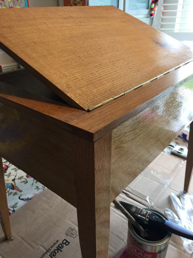 varnishing a vintage table