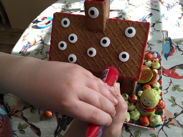 making a Halloween gingerbread house