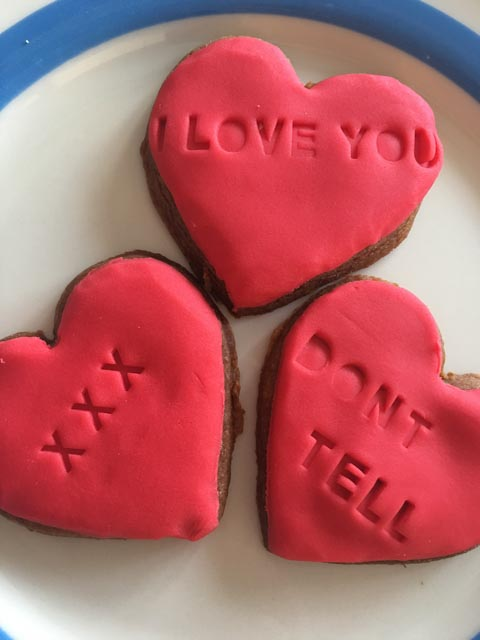 stamped biscuits for Valentine's Day