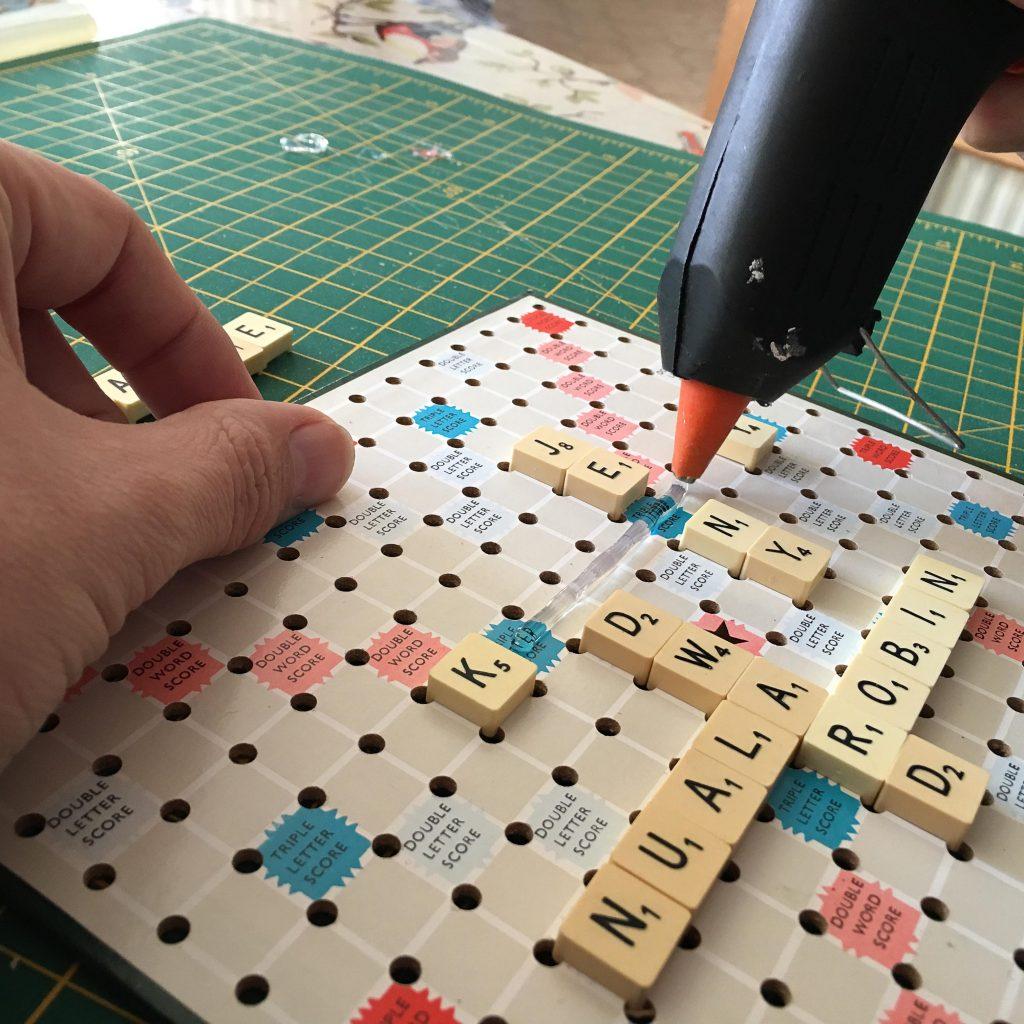 making scrabble art