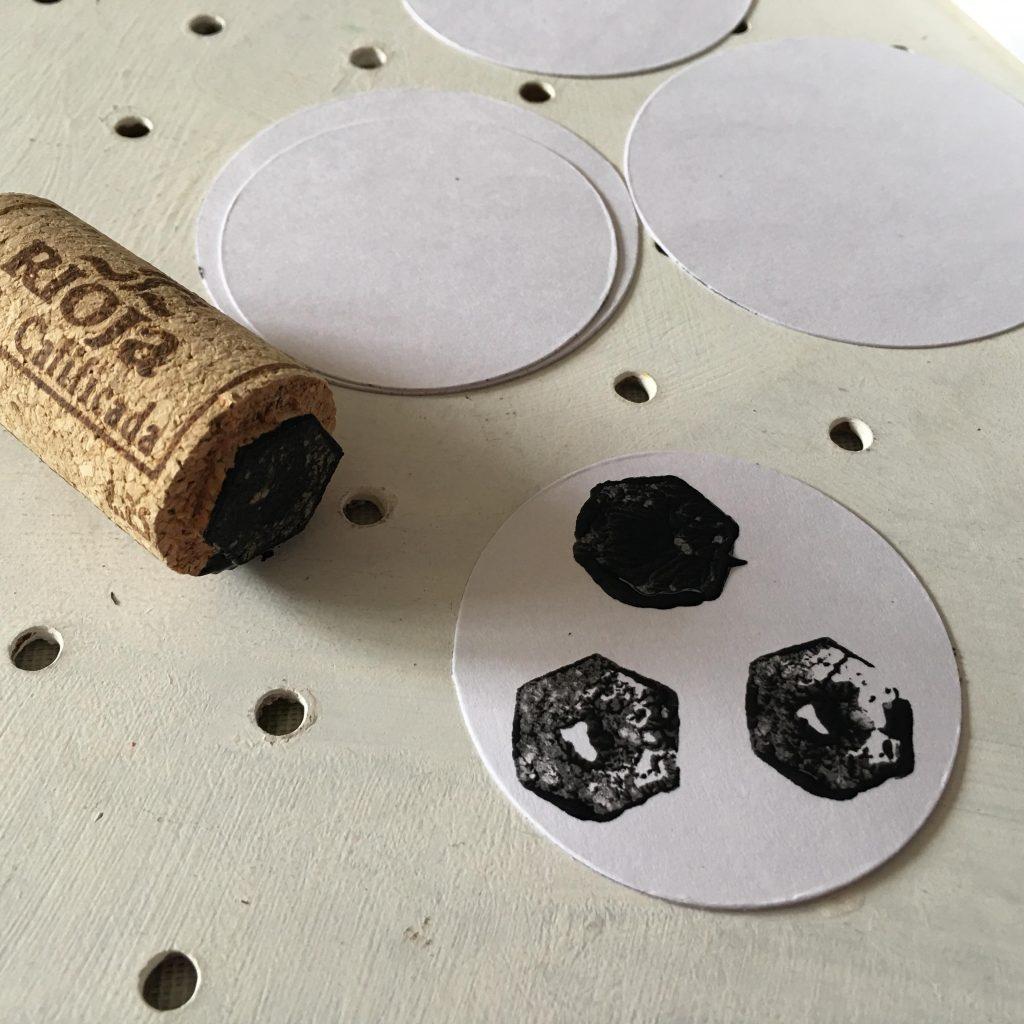Cork stamped footballs craft