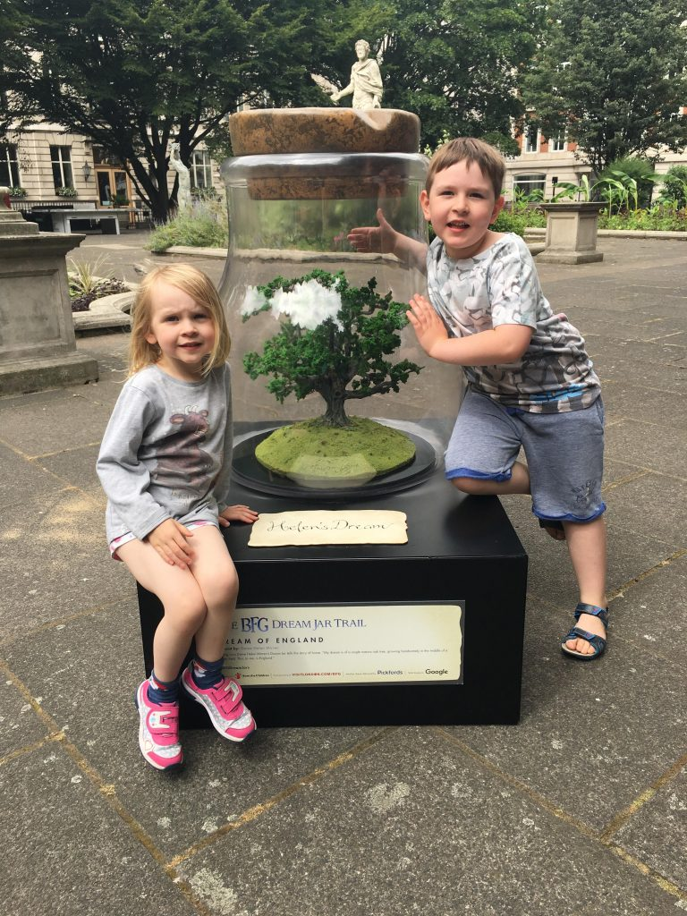 two children with one of The BFG Dream Jar Trail